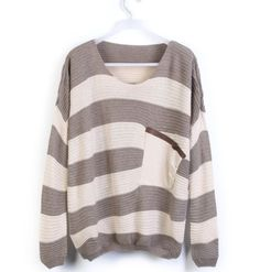 Coffee Striped Bat Long Sleeve Swea..