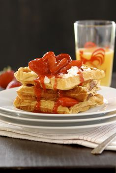 Frito Waffles with Mascarpone and Warm Strawberry Compote. Right up my alley; I love all those things!