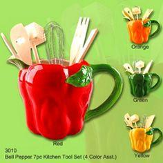 Green Bell  pepper  decor | Bell Pepper Utensil Holder W/KITCHEN TOOLS