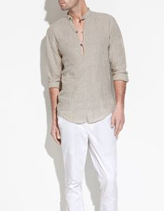 MAO COLLAR LINEN SHIRT - Shirts - Man - ZARA