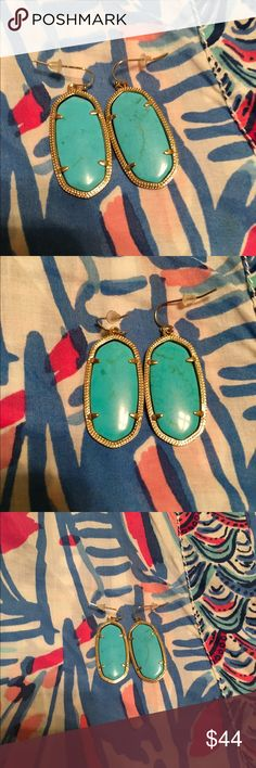 Kendra Scott Elle earrings Turquoise and gold. Pretty veining in stones. Comes with plastic backs but no dust bag. Kendra Scott Jewelry Earrings