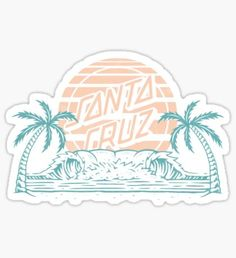 """santa cruz logo - beach"" Stickers by rosiesokoll Stickers Cool, Surf Stickers, Red Bubble Stickers, Tumblr Stickers, Printable Stickers, Laptop Stickers, Preppy Stickers, Santa Cruz Stickers, Homemade Stickers"