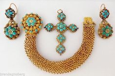 Antique Georgian Parure Gold Cannetille Turquoise Earrings Cross Bracelet (#5432