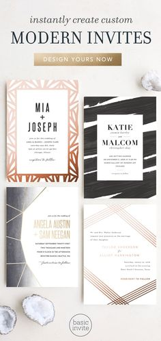 Find the right modern wedding invitations for your upcoming wedding. With hundreds of designs and the ability to change the color of every element on the design to one of over 160 colors will make sure you can create something that is uniquely you. Wedding Invitation Trends, Photo Wedding Invitations, Graduation Party Invitations, Elegant Invitations, Wedding Stationary, Wedding Trends, Invitation Design, Invites, Wedding Ideas