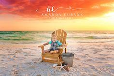 Sunset Family Session, Sunset portrait session, Adirondack kids beach chair, beach session props, sunset beach sky, Amanda Eubank Photography