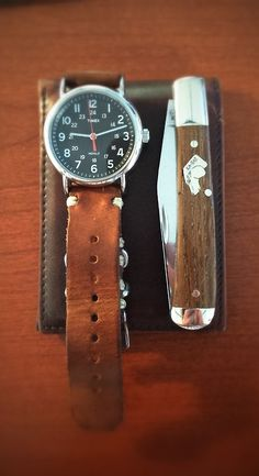 pocketpuke: Nice lightweight and simple carry. -Timex Weekender with custom leather strap. - KaBar Dogs Head Trapper. - Noname slim leather wallet. Thanks for the submission. Carry on.