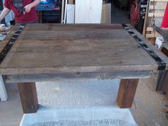 This coffee table is made out of some barnwood. The way it turned out kinda looks like am old hatch door. SOLD