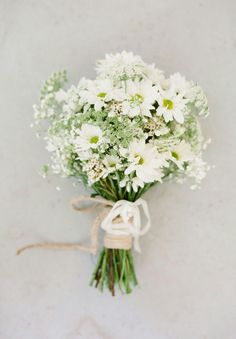 Rustic/Country/Boho/Shabby Chic Wedding Bouquet Arranged With: White/Green Chrysanthemums (Daisies), Green Queen Anne's Lace, White Gypsophila & Coordinating Florals~~