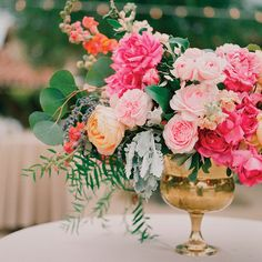 """""""I love Anna Le Pley Taylor's mix of flowers in every shade of the peachy-pink rainbow. Put all that pretty in a gold statement vase?""""—Abby Larson, founder and editor of Style Me Pretty August Wedding Flowers, Blush Pink Wedding Flowers, Modern Wedding Flowers, Flower Bouquet Wedding, Floral Wedding, Wedding Colors, Plum Wedding, Wedding Dress, Boquet"""