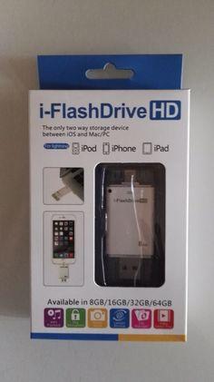 IFlashDriveHD. Pendrive 8gb per dispositivi Apple Ottimo per memorizzare le immagini, musica e altri dati, alleggerendo la memoria interna del vostro iPhone o qualunque dispositivo Apple. Alta velocità di trasferimento. Colore: bianco Capacità : 8gb Per: iPhone, 5/5s/5c/6/6 plus/ 6s/ 6s plus iPad 4/5/ mini e iPod touch 5 Per info contattatemi in privato   http://p.nembol.com/p/716k=Ws8b Published via Nembol app
