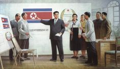 At the third meeting of the People's Assembly of North Korea on Nov. or Juche 36 ), the great Kim Il Sung raised the issue of establishing a national flag , and in the first days of.