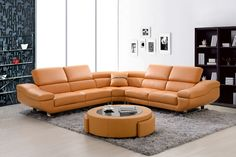 3 pc Patricia collection modern style orange bonded leather sectional sofa with adjustable headrests.  This set includes the LAF love seat, corner…