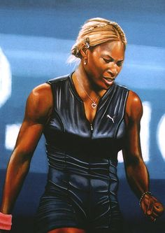 Realstic acrylic painting of Serena Williams by the Dutch painter Paul Meijering - The Original painting is 120 x 90 cm and for sale