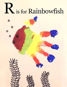 R is for Rainbowfish - Easy Handprint Activity for toddlers and young elementary aged children who are learning the letters of the alphabet