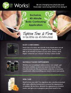 Body Slimming Wraps by It Works, Protein, Greens for a healthier you and more!! Wraps and more information all available at Blush!! Ask for Jen she's our guru!