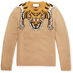 Gucci Slim-Fit Tiger-Intarsia Wool Sweater ($845) ❤ liked on Polyvore featuring mens, men's clothing, men's sweaters and brown