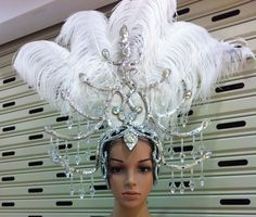 Da NeeNa H1231 Drag Ostrich Feather Crystal Queen Showgirl Headdress #DaNeeNa