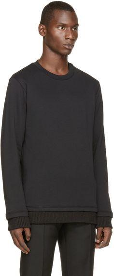 Ann Demeulemeester Black Knit Trim Sweatshirt