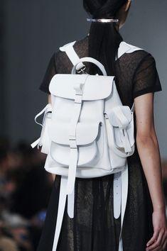 White Rucksack - chic leather backpack, runway accessories // Marios Schwab Spring 2014
