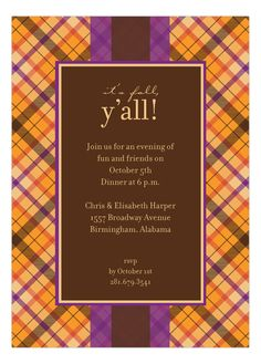 Polka Dot Design Spiced Tartan Invitation. It's fall y'all! Throw the perfect party with this plaid fall party invitation.