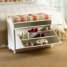 Shoe storage bench. Allow you to store books, shoes and other items in the bench, and sit on it while having the supply's in the compartments.