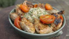 BBC - Food - Recipes : Cauliflower salad with barbecue chicken and honey