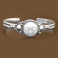 Sterling Silver and Cow Bone Cuff Bracelet, 'Moon Goddess'
