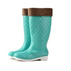 Jenssa Womens Candy Color Removable Warm Pad Wellington Boots Rain Shoes 85 Blue -- Read more reviews of the product by visiting the link on the image.