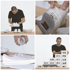 How to keep your box fresh sneakers white and clean.  Step 1: Spot clean them Step 2: Deep clean them Step 3: Relace them Step 4: Protect them Step 5: Store them  A step by step guide from Mr Eugene Tong, Style Director of Details magazine.