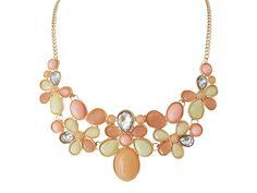 Statement Kette Halskette Damen Schmuck Gliederkette Pastell Farben Elemente 44cm + 7cm Verl. Hochwertig Rose vergoldet