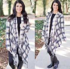 Fringe plaid cardi in classic colors + designer inspired rain boots {shop link in bio} ‪#‎shopPD‬