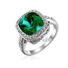 18K White Gold GP 2.5ct Emulational Diamond Turquoise Wedding Ring R1123W3[Size6]