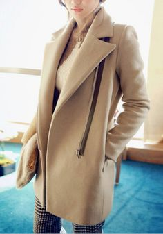 Vintage Inspired Camel Coat - Textured Black Coat