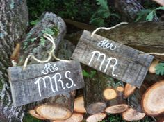 Rustic wedding mr and mrs signs for chair or by SawmillCreations, $25.00