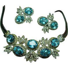 Vintage Castlecliff Aqua & Diamante Necklace Earrings Demi Parure
