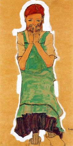 Egon Schiele- Girl with Green Pinafore (1910)