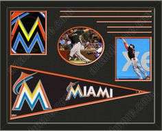Three framed 8 x 10 inch Miami Marlins photos of Miami Marlins Team logo (including one HORIZONTAL photo framed in an oval) with a large Miami Marlins pennant, double matted in team colors to 28 x 22 inches.  The lines show the bottom mat color.  The oval photo will be cropped to fit.  (Pennant design subject to change)  $159.99 @ ArtandMore.com