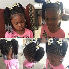 Pin By Shatela On Braids Little Girl Hairstyles Hair Styles Kids Braided Hairstyles- braided hairstyles for little girls braided hairstyles ponytail Little Girl Braid Styles, Kid Braid Styles, Little Girl Braids, Braids For Kids, Black Girl Braids, Girls Braids, Children Braids, Children Hair, Lil Girl Hairstyles