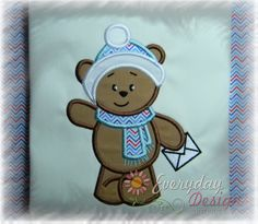 Bear with Envelope Machine Embroidery Applique by EverydayDesignsB