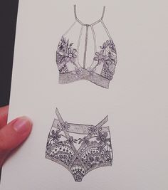 We love how creative our customers are! Amazing sketch of our Lucia Bralette & High-Waist Panty Set. #MyFLL
