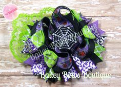 Halloween Hair Bow, OTT Hair Bow, Holiday Hairbow, spider hair bow, boutique hair bow, stacked hair bow, spooky hair bow, halloween bow by BaileyBowsBoutique on Etsy https://www.etsy.com/listing/209497707/halloween-hair-bow-ott-hair-bow-holiday