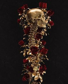 Gold Aesthetic on Point The Wicked The Divine, Hades And Persephone, Flower Aesthetic, Anatomy Art, Skull And Bones, Skull Art, Gold Skull, Aesthetic Wallpapers, Dark Art