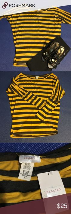 Mustard and gray stripe dolman top Mustard and gray striped top 48% polyester 48% rayon 4% spandex new with tags Bellino Tops Tees - Long Sleeve