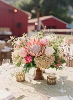 Natives in table centres. Big yes! // Photography: Elizabeth Messina, Floral Design + Decor: Mindy Rice