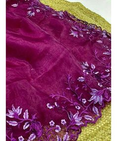 Unique Style Organza Silk Saree with embroidery work & Sattin Blouse -Style Array Embroidery, Blouse Styles, Silk Sarees, Range, Etsy Shop, Pure Products, Unique, Check, Needlepoint
