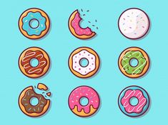 Donuts illustration. set collection of d... | Premium Vector #Freepik #vector #food #bakery #sweet #illustration Sweet Restaurant, Donuts, Candy Icon, Ice Cream Poster, Pink Cafe, Donut Vector, Outline Illustration, Restaurant Menu Template, Cake Logo