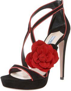 Prada Black Twotone Rosette Platform Sandal #shoes #rose