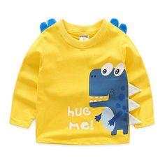 Childen T-shirts sweatshirt Boys T shirt Kids Long Sleeve T-shirts Children Camiseta Cartoon Dinosaur Roupas Infantis Baby Outfits Newborn, Baby Boy Outfits, Kids Outfits, Cute Tshirts, Boys T Shirts, Boys And Girls Clothes, Baby Kind, Mom Baby, Boys Sweaters