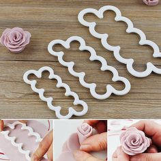 Take your cake decorating to a whole new level with these amazing Rose Cutter Fondant Mold. Lay and roll the fondant flat, press the rose cutter, once the Fondant Rose, Fondant Icing, Fondant Flowers, Fondant Molds, Cookies Rosa, Rose Cookies, Flower Cookies, Cake Decorating Company, Cake Decorating Tips