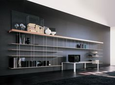 FLOATING STEEL AND WOOD BOOKCASE GRADUATE BY MOLTENI & C. | DESIGN JEAN NOUVEL